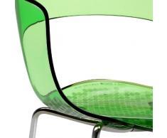 Scab Design Designer Stuhl mit Chrombeinen Miss B Antishock 4 Legs grün transparent