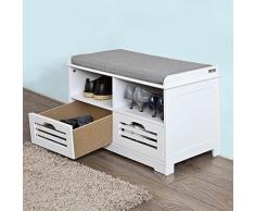 SoBuy® Schuhtruhe, Sitzbank mit 2 Körben und Ablagen, Sitzkommode mit Sitzkissen, weiß, FSR36-K-W
