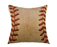 AHENANY Home Decorative Retro Throw Pillow Covers,Baseball Worn Ball Pillow Case Square Cushion Cover for Sofa Bed Chair Couch Car Decoration 18 x 18 Inch Brown