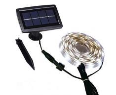 Solar Streifen lichtundurchlässig außen mit Wasser, Start/Stopp-Automatik-Modi 2, flexibel und Schneidetisch, Klebstoff, 5 m 150 LEDs hellen Band Treppe Dachfenster Terra (Color : Warm swhite)