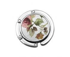 Niedlicher Faltbarer Geldbeutel-Aufhänger für Tisch, Geldbeutel-Haken-Blume Shabby Chic Roses Leaves Tulips Floral