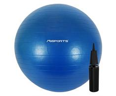 Gymnastikball inkl. Pumpe 55 cm - 105 cm Sitzball - Fitnessball inkl. Übungsposter Medizinball (65 cm, Blau)