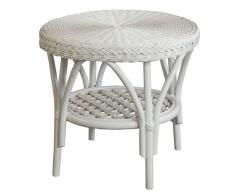 Rattan-Tisch / Beistelltisch Rund in der Farbe Weiss - Versandkostenfrei in DE