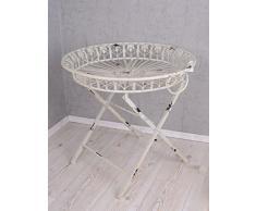 PALAZZO INT Teetisch Weiss Beistelltisch Shabby Chic Metalltisch Gartentisch