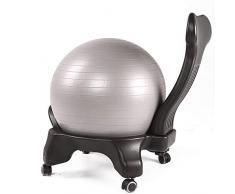 QIN Classic Balance Ball Chair - Bewegungsstabilität Yoga Ball Premium Ergonomischer Stuhl für Home und Office Desk mit Luftpumpe Executive Swivel Computer Stuhl