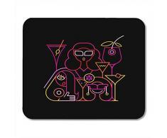 Maus-Matten-Pad, Frau Drei junge schöne Frauen, die in Cocktailbar-Neonfarben auf schwarzen Party-Martini-Mauspads guter Qualität für Internet-Cafe-Tastatur trinken,18x22cm