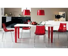 Calligaris Stuhl 2-Ice, Satiniert – Rot Transparent