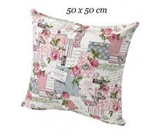 Shabby Chic Kissenhülle in natur rosa 50x50 cm 100% Baumwolle französischer Landhaus mit Rosen passende Varianten als Tisch Set Kissen Typ293