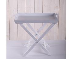 TABLETT MIT GESTELL ROMANTIK | Holz, weiß | Landhaus, Shabby, Tabletttisch