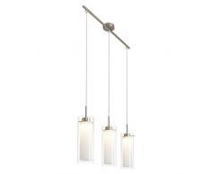 Briloner Leuchten LED Pendelleuchte, Hängelampe, Hängeleuchte, Wohnzimmerlampe, Pendel, Esszimmerlampe, Esstischlampe, Pendellampe, Esstischleuchte, Wohnzimmerleuchte mit Doppel-Glas, 3xLED 5 W, 5 x 400 lm, energiesparend, chrom