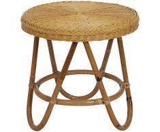 Runder Rattan-Tisch / Beistelltisch Retro in der Farbe Honig - Versandkostenfrei in DE