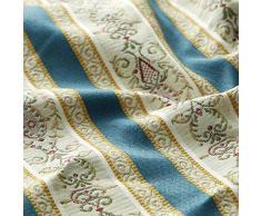 Fabulous Fabrics Möbelstoff Jacquard Biedermeier Streifen - Creme/blau - Meterware ab 0,5m - zum Nähen von Kissen, Stühle und Stuhlauflagen