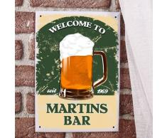 private signs Blechschild für Hausbar mit Wunschnamen und Geburtsjahr - Bier Bar - A4