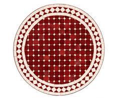 albena Marokko Galerie 15-117 Susat Marokkanischer Mosaiktisch 60cm rund (Susat: rot/weiss)