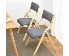 Esszimmerstühle Klappstuhl Holzstuhl mit durchbrochener Rückenlehne für Küche, Wohnzimmer Freizeitstühle Frisierstühle (Naturalx2)