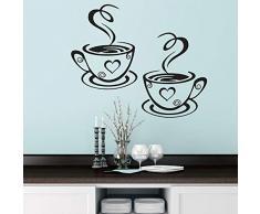 Zwei Kaffeetassen Küchenbar Wandaufkleber für Wohnzimmer Restaurant Hintergrund Kunst Aufkleber Aufkleber Tapete Wohnkultur Wandaufkleber 62cm * 36cm