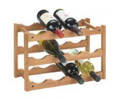 WENKO Weinregal Norway, Weinschrank für bis zu 12 Weinflaschen, Weinhalter aus Walnussholz, 3 Etagen zur Aufbewahrung von Wein- und Sektflaschen, 42 x 28 x 21 cm, natur