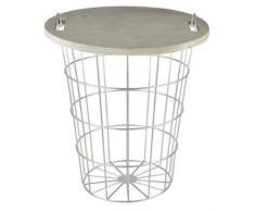 Esschert Design Tisch Korb aus Tannenholz und Metall, 35,0 x 35,0 x 42,3 cm