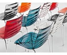 Calligaris Stuhl 2-Wasser stapelbar, Chrom - Rot transparent