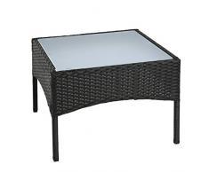 ESTEXO Polyrattan Beistelltisch Rattan Tisch Gartentisch Balkontisch Loungetisch Möbel (Schwarz)