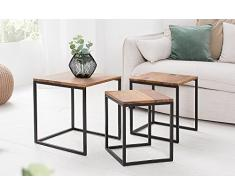 Beistelltisch 3er Set ELEMENTS Sheesham Metall Schwarz Satztische Tischset Couchtische Beistelltische Wohnzimmertische