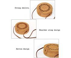PowerBH Kreative Handgewebte Tasche Damen Strandtasche Stroh Tasche Runde Rattan Tasche Schultergurt Leder Tisch Retro Rattan Stroh Umhängetasche