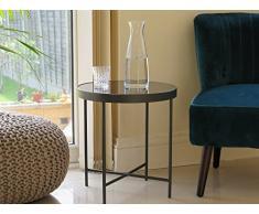 Aspekt Fino Glas rund Seite Kaffee End Lampe Tisch, Metall, Spiegel, anthrazit/grau, 42,5 x 42,5 x 46 cm