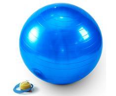 Sitzball 75 cm inkl. Pumpe Jalano Gymnastikball Ball Fitnessball in 2 Farben - Yogaball für Rückentraining am Arbeitsplatz oder für Gymnastik (Blau)