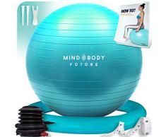 Gymnastikball Mind Body Future. Swiss Ball perfekt als Sitzball u. Therapieball. für Yoga, Pilates, Schwangerschaft. Robust, rutschfest, hypoallergisch. 65 cm mit Ring u. Pumpe. Türkis