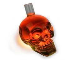 Skull - Flasche (550 ml) für die Hausbar/ Party/ Halloween/ Geschenk im Totenkopfdesign, Vodka -Whiskey - Flasche Kristall - Schädel, Totenkopf, Wein - Dekanter, Schnapsglas, transparent, Farbe: trans