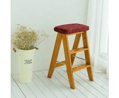 YLLN 2-Stufen-Leiter Massivholz-Klappleiter Tragbare Haushaltsküche Schneidetisch Hocker Stuhl Barhocker (Farbe: C, Größe: 34 * 32 * 60 cm)