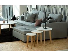 AC Design Furniture 0000049335 Satztisch Ricky, Durchmesser 50, Höhe 50 cm, Tischplatte aus Holz lackiert weiß, Gestell Massivholz Eiche, unbehandelt