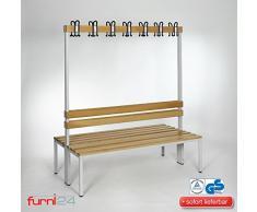 furni24 Umkleidebank Sitzbank Garderobenbank Sportraum Bank mit Rückenlehne (2-seitig) doppelseitig mit Garderobenhaken 150 cm x 170 cm x 85 cm