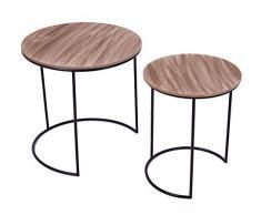 Metall Beistelltisch schwarz mit Holz Tischplatte - 2er Set - Couchtisch Sofatisch Satztische