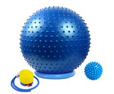 Massage Yoga Gymnastikball mit Stabilität Basis / Pump 65cm Eignung-Kugel Flexible Sitz verbessert die Balance Kernkraft Posture Ball Chair Secure Anti-Burst-Rutschhemmende Massagekugel,Blau