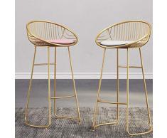 Schmiedeeisen Barhocker mit Rückenlehne Küchenbar Barhocker, rutschfestes Design, Sitzhöhe Barhocker Barstühle Barhocker for den Außenbereich , Barhocker 2er-Set , Barhocker aus Gold