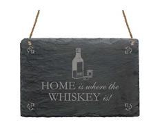 Schiefertafel « HOME IS WHERE THE WHISKY IS » mit Motiv Whiskey - für Haushalt Heim Hausbar - Geschenk Schild Dekoschild Dekoration