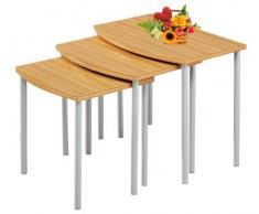 Dreisatztisch Beistelltisch Blumentisch Nachttisch Hocker Ablage Holz Metall