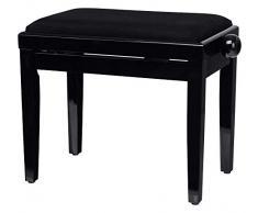 Classic Cantabile Pianobank Schwarz-Hochglanz (Höhenverstellbar von 47-56cm, Spindelmechanik, Sitzfläche 55 x 32cm, schwarzer Velourbezug, stabil)