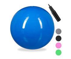Relaxdays Unisex – Erwachsene Gymnastikball, Fitnessball Yoga & Pilates, Sitzball Büro, Balance Ball inklusive Luftpumpe, Ø 55 cm, blau, 1 Stück