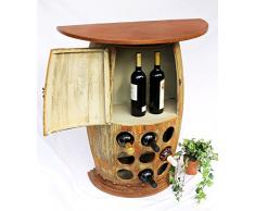 DanDiBo Wandtisch Weinfass Weinregal halbrund 1500 Bar Flaschenständer 85cm Weinfass Holzfass Schrank