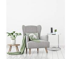Relaxdays, Silber Beistelltisch Chrom, rund, Glastisch mit Milchglas, Metallgestell verchromt, Tisch H x Ø 55 x 48 cm, Standard