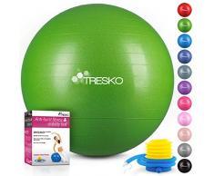 TRESKO® Anti-Burst Gymnastikball 55cm 65cm 75cm 85cm | Sitzball | Yogaball | 300 kg | mit Luftpumpe (Grün, 65cm (geeignet für 155-175cm))