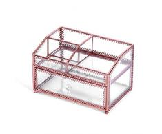 IStorage Glas Doppelschicht Aufbewahrungsbox, (handgefertigte personalisierte Home Decor) kosmetische Schmuck Organizer, Tischvitrine