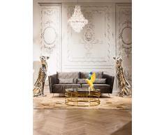 Kare Couchtisch Jupiter, 80555, runder moderner Wohnzimmertisch mit Glasplatte, großer Sofatisch, gold (H/B/T) 40x100x100cm