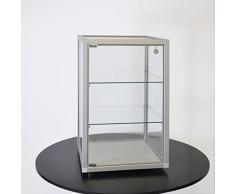 MHN Schmuckvitrine Glas abschließbar Glasvitrine mit Schloss Tischvitrine klein Uhren Piercing Schmuck Juwelier 40 cm