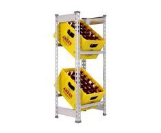 Getränkekistenregal 1000 x 410 x 300 mm, 2 Ebenen, 100 kg Tragkraft/Ebene, VERZINKT