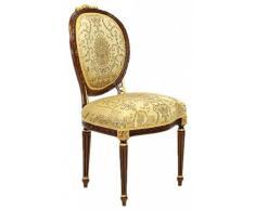 Casa Padrino Luxus Barock Esszimmer Stuhl Ludwig XV Gold Muster / Mahagoni Braun - Möbel