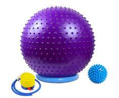 Massage Yoga Gymnastikball mit Stabilität Basis / Pump 65cm Eignung-Kugel Flexible Sitz verbessert die Balance Kernkraft Posture Ball Chair Secure Anti-Burst-Rutschhemmende Massagekugel,Lila