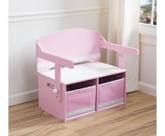 Sitzbank & Schreibtisch mit Stauraum (Rosa)